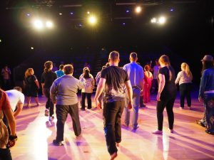 Performers' warm up on stage at Valletta Campus Theatre